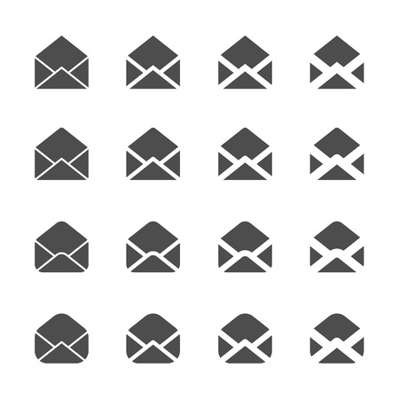 mail icon: letter envelope mail and email icon set, vector eps10. Illustration