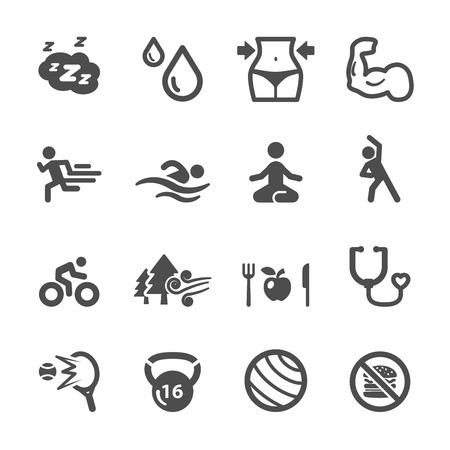 Conjunto de iconos sana y fitness, vector eps10. Foto de archivo - 43580796