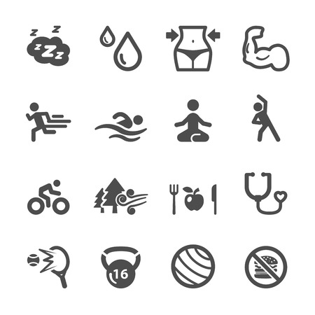 healthy and fitness icon set, vector eps10. Vettoriali