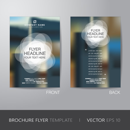 white circle and blur background brochure flyer design layout template in A4 size, with bleed, vector   Illustration