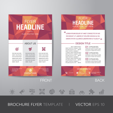 polygon business brochure flyer design layout template in A4 size, with bleed,   Stock Illustratie