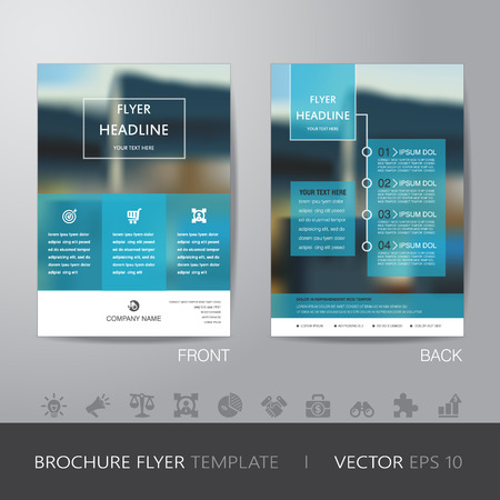 corporate blur background brochure flyer design layout template in A4 size, with icon for your content, with bleed, vector
