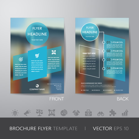 brochure design: corporate blur background brochure flyer design layout template in A4 size, with icon for your content, with bleed, vector
