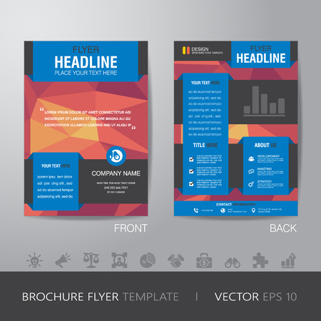 page design: polygon business brochure flyer design layout template in A4 size, with bleed,   Illustration