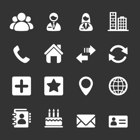 icono computadora: contactos conjunto de iconos, vector Vectores