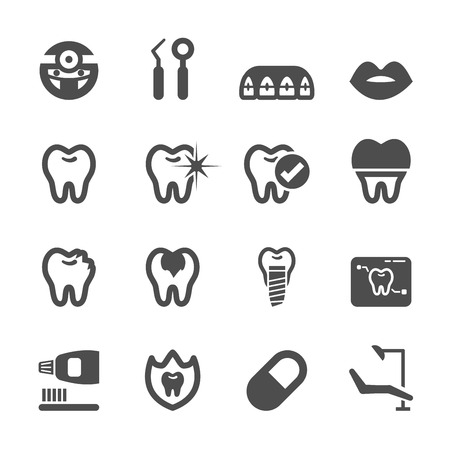 caries dental: dentales y m�dicos conjunto de iconos, vector