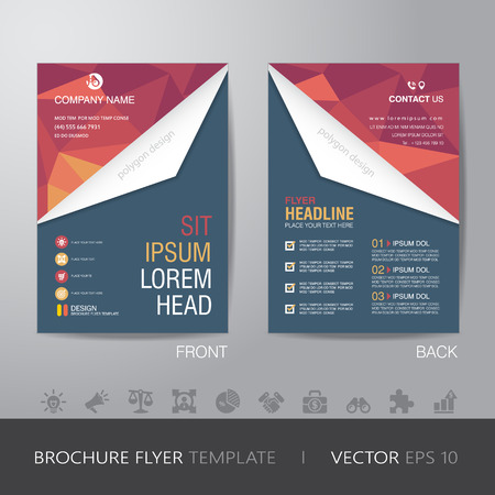 bleed: polygon business brochure flyer design layout template in A4 size, with bleed  Illustration