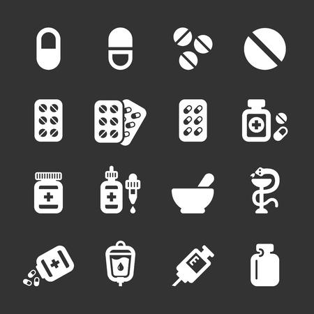 pharmacy symbol: pharmacy and pill icon set