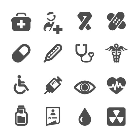sickbed: hospital and medical icon set