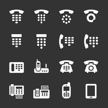 phone and fax icon set