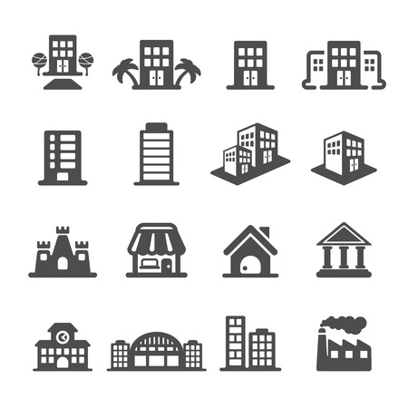 hotel icon: building icon set, vector eps10.