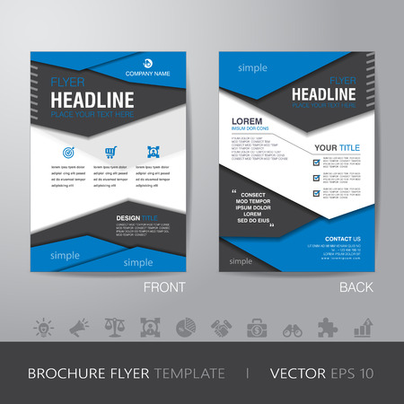 headlines: polygon business brochure flyer design layout template in A4 size, with bleed, vector eps10.