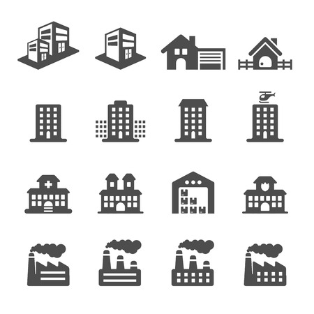 escuela edificio: icono edificio conjunto 2, vector eps10.