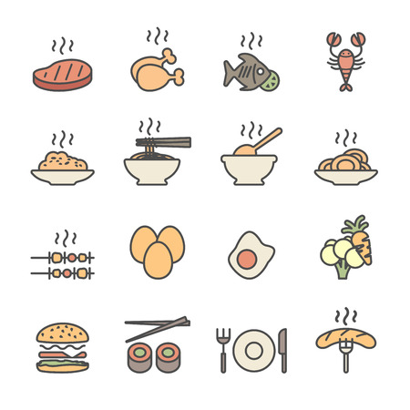 fried noodles: food icon set, flat line color version, vector . Illustration
