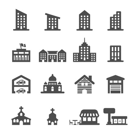 centro comercial: icono de la construcción establece 3, vector.