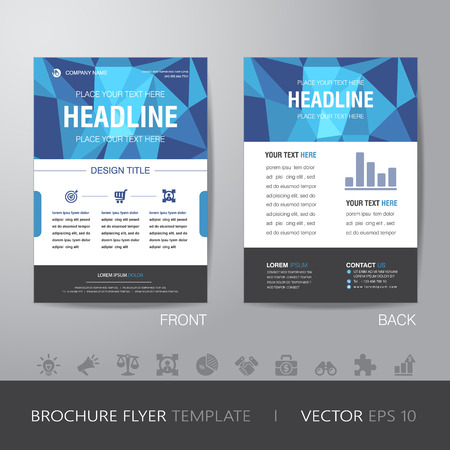 business flyer: polygon business brochure flyer design layout template in A4 size, with bleed, vector  Illustration