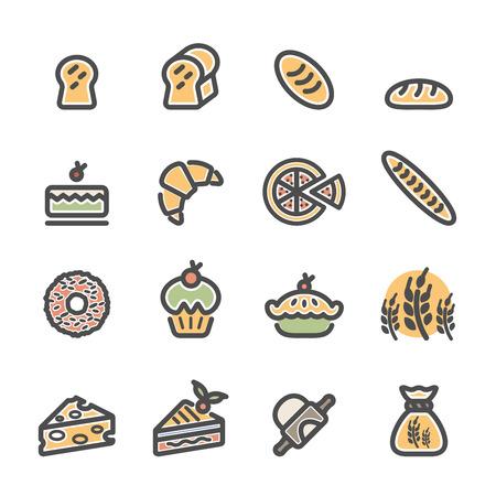 rolling bag: bakery icon set, flat line color version, vector .