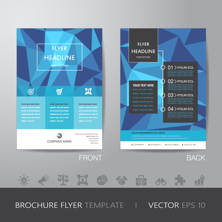 bleed: polygon business brochure flyer design layout template in A4 size, with bleed, vector .