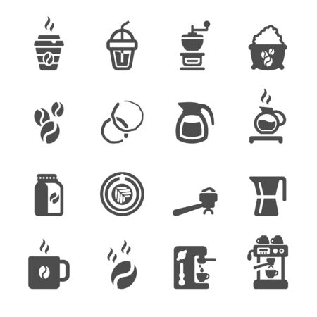 chicchi di caff?: caffè set di icone, vettore.