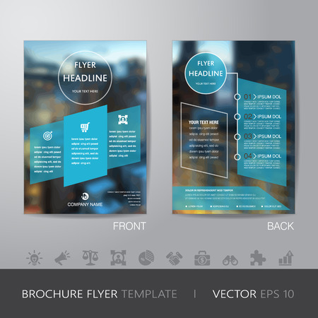bleed: corporate blur background brochure flyer design layout template in A4 size, with icon for your content, with bleed, vector eps10.
