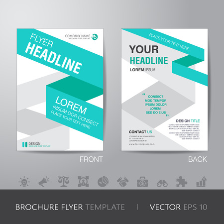 bleed: ribbon business brochure flyer design layout template in A4 size, with bleed, vector eps10.