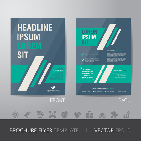 simple business green and blue brochure flyer design layout template in A4 size, with bleed, vector eps10.