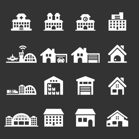 shopping mall: building icon set 7, vector eps10.