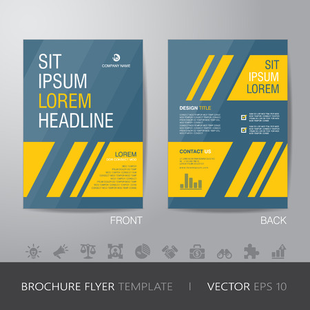simple business yellow and blue brochure flyer design layout template in A4 size, with bleed, vector eps10.