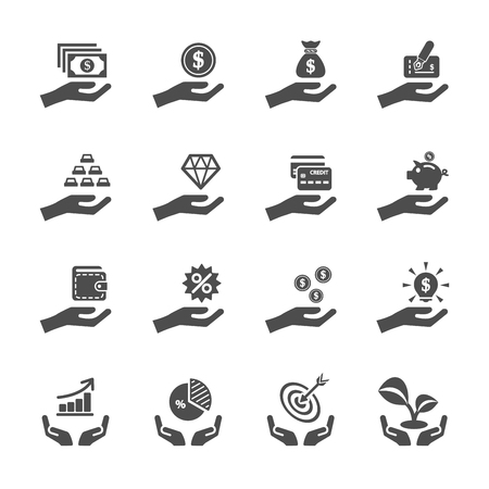 bag of money: business and finance hand icon set, vector eps10. Illustration
