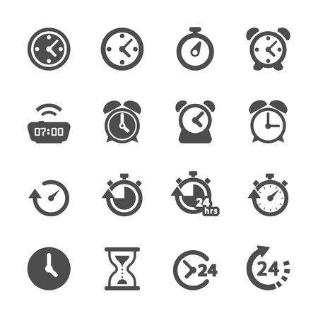 round icons: time and clock icon set, vector eps10. Illustration