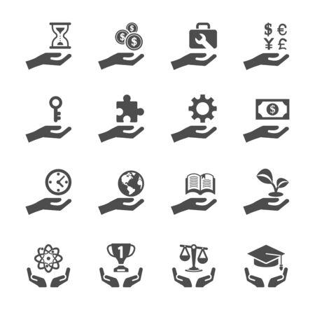 mundo manos: icono de negocios y finanzas mano conjunto 2, vector eps10.