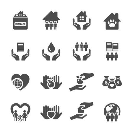 comunidad: la caridad y la donación de conjunto de iconos 2, vector eps10.