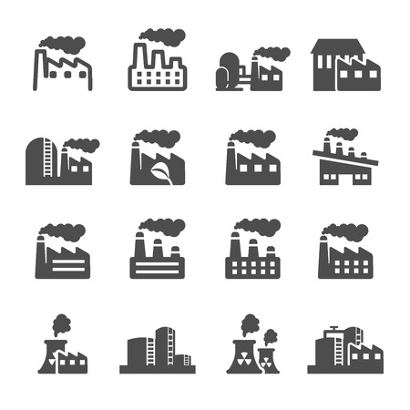 heavy industry: factory plant building icon set, vector Illustration