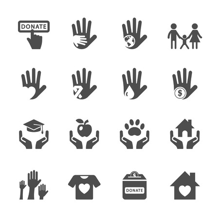 children hands: charity and donation icon set, vector