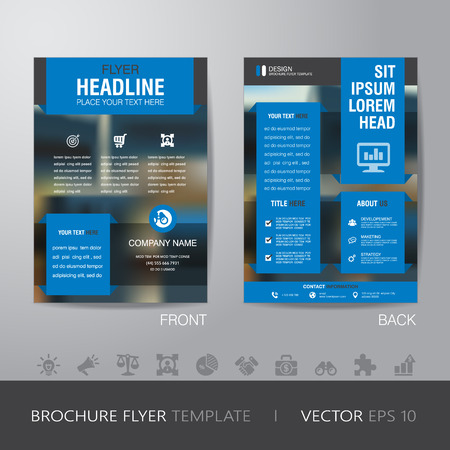sangrar: business blur background brochure flyer design layout template in A4 size, with icon for your content, with bleed, vector eps10.