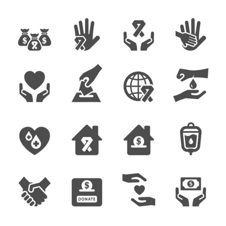 charity and donation icon set 6, vector eps10. Illustration