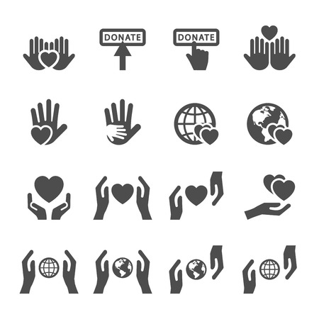 charity collection: charity and donation icon set 4, vector eps10. Illustration