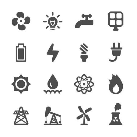 electricidad industrial: Conjunto de iconos de la energía, el vector eps10. Vectores