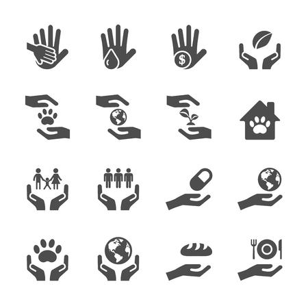 social awareness symbol: charity and donation icon set 7, vector eps10.