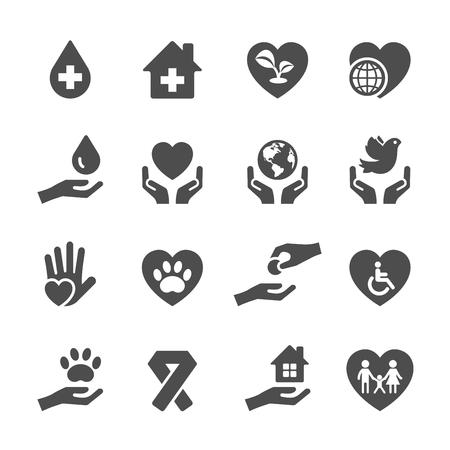 la caridad y la donación icono conjunto 3, vector eps10. Ilustración de vector