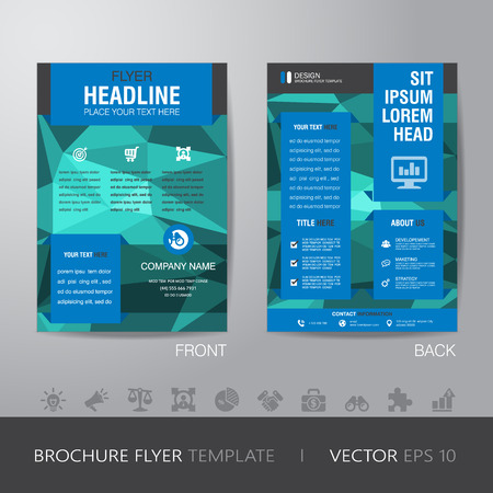bleed: business blur background brochure flyer design layout template in A4 size, with icon for your content, with bleed, vector eps10.