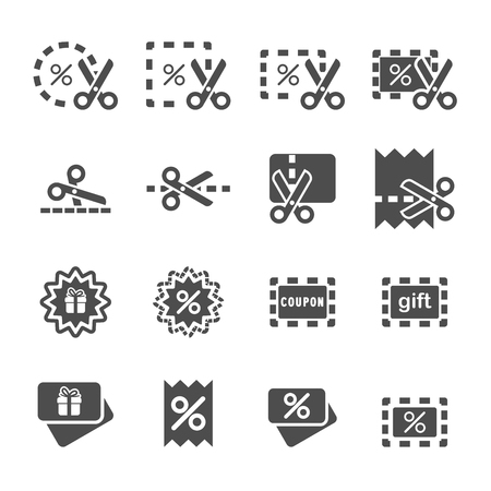 coupon and discount icon set, vector eps10.