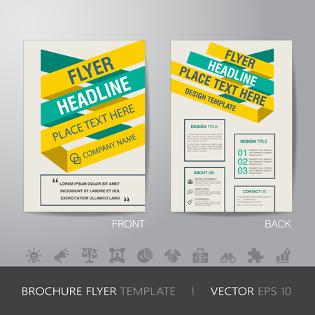 bleed: yellow green business brochure flyer design layout template in A4 size, with bleed, vector eps10.