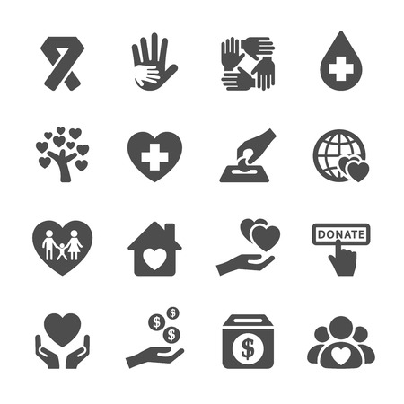 globe hand: charity and donation icon set 5, vector eps10. Illustration