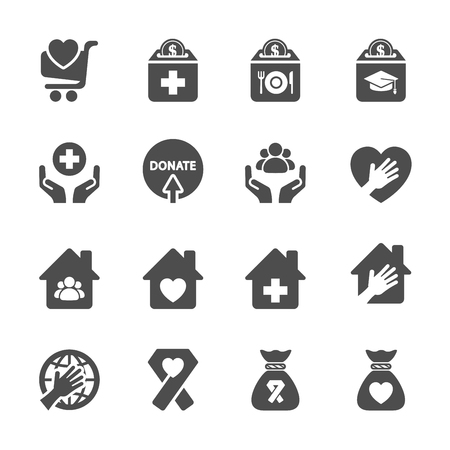 charity collection: charity and donation icon set 9, vector eps10. Illustration