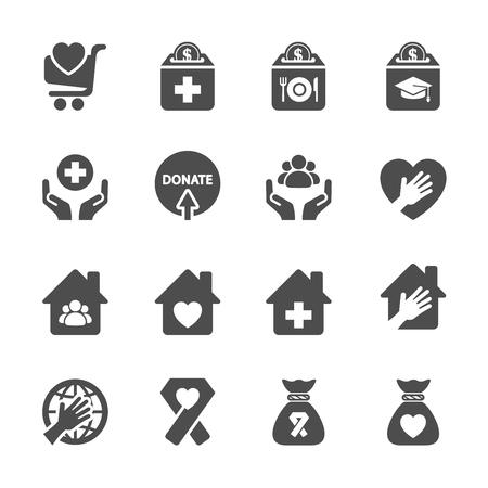 egészségügyi: jótékonysági adomány ikon készlet 9, vektor eps10.