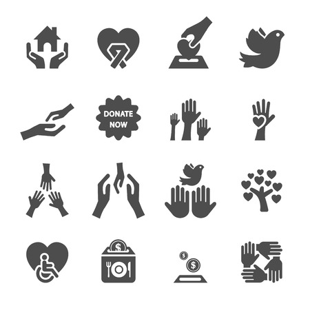 social awareness symbol: charity and donation icon set 8, vector eps10.