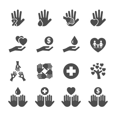 people silhouette: charity and donation icon set 10, vector eps10.