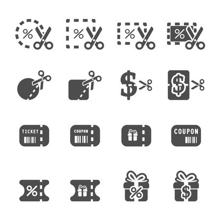 coupon and discount icon set 4, vector eps10. Illustration
