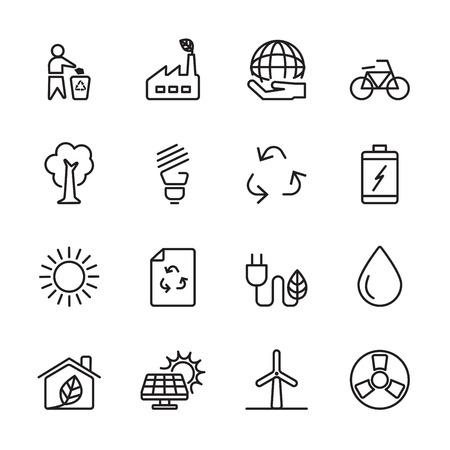 zero emission: thin line ecology energy icon Illustration